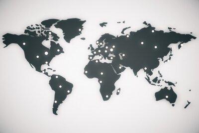 Cuadro Ilustración mapa del mundo con mayúsculas, 3d