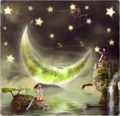Cuadro Ilustración muestra la isla de cuento de hadas en el cielo