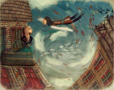 Cuadro Ilustración muestra un hombre en sky.He crece en un bird.A chica se encuentra en un balcón y se ve en el cielo