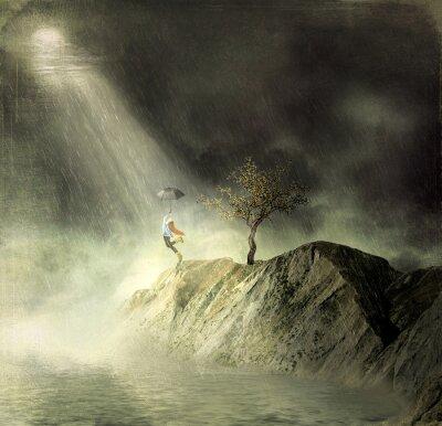 Cuadro Ilustración muestra una niña en la montaña de. Una niña con un paraguas baila bajo la lluvia
