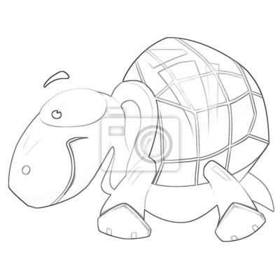 Ilustración: serie de libros para colorear: tortuga. línea delgada ...