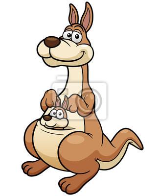 Ilustración vectorial de dibujos animados de canguro pinturas para ...