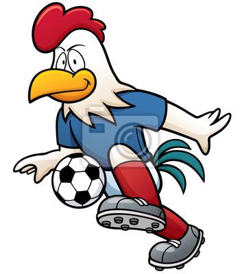 0e80c32ce4ade Cuadro Ilustración vectorial de jugador de fútbol de dibujos animados -  gallo