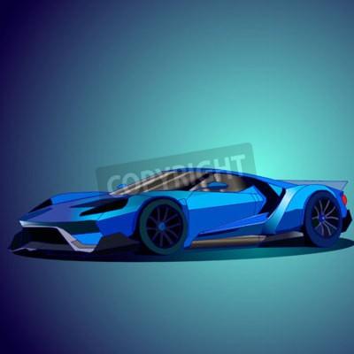 Cuadro Ilustración vectorial de nuevo coche deportivo azul.