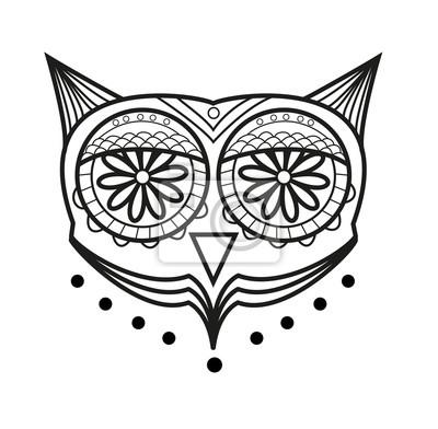 Cuadro Ilustración Vectorial De Ojos De Búho De Vectores Para Colorear