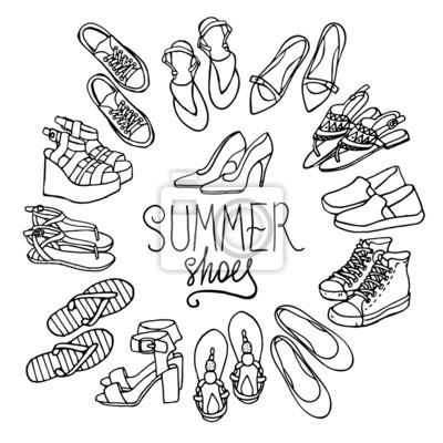 05ed8e88 Cuadro Ilustración vectorial de zapatos de mujer establece. Mano-ahogan  objetos ilustraciones. Colección