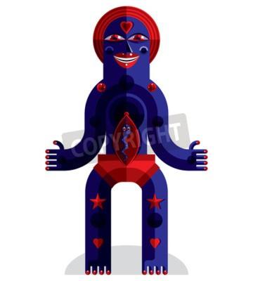 Cuadro Ilustración vectorial gráfico, carácter antropomórfico aislado en blanco, avatar moderno decorativo hecho en el estilo cubismo.