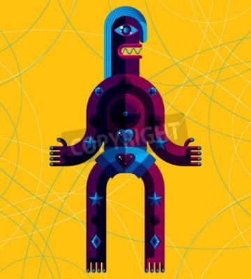 Cuadro Ilustración vectorial gráfico, carácter antropomórfico aislado en el fondo del arte, avatar moderno decorativo hecho en el estilo cubismo.