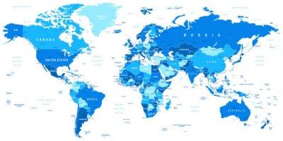Cuadro Ilustración vectorial muy detallada de map.Borders mundo, países y ciudades.