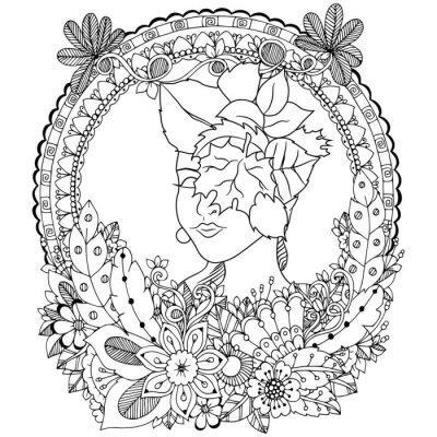 Ilustracion Vectorial Zen Chica Angel Enredo Con Flores Dibujo