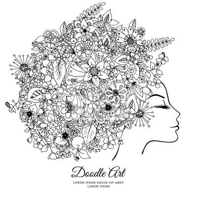 Ilustracion Vectorial Zentangl Chica Con Flores En El Pelo Dibujo