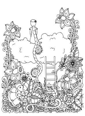 Ilustracion Vectorial Zentangl Nina Sentada En Una Nube En Flores
