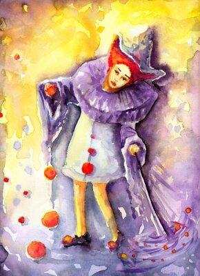 Cuadro ilustracja przedstawiająca klauna kręcącego  piłeczkami