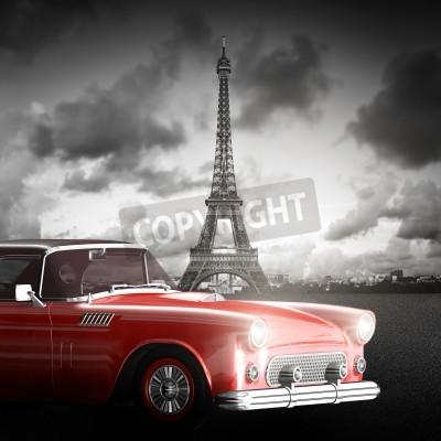 Cuadro Imagen artística de la Torre Eiffel, París, Francia y coche retro rojo.