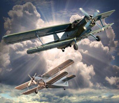 Cuadro Imagen de estilo retro de los biplanos. Tema de transporte.