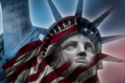 Cuadro Imagen de la exposición doble de la Estatua de la Libertad y la bandera americana