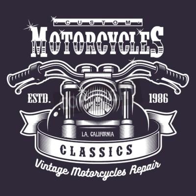 Cuadro Impresión de la motocicleta del vintage. Monocromo sobre fondo oscuro