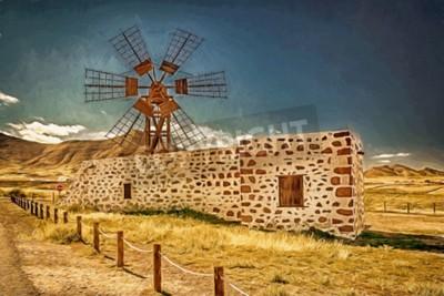 Cuadro Impresión de un molino de viento en Fuerteventura, Islas Canarias, España
