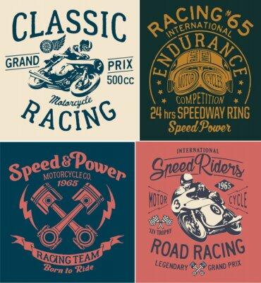 Cuadro Impresiones de la carrera de la motocicleta del vinta para la camiseta del muchacho