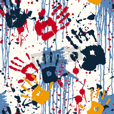 Cuadro Impresiones de la mano y manchas, patrón abstracto del vector abstracto