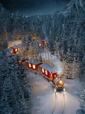 Cuadro Increíble lindo tren de Navidad atraviesa el fantástico bosque de invierno en el Polo Norte. Ilustración 3d inusual Navidad