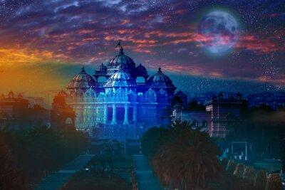 Cuadro India. Delhi.temple Akshardham por la luz de la Luna llena.