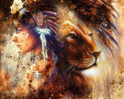 Cuadro indian mujer que llevaba el tocado de plumas con el león y abstracto collage color