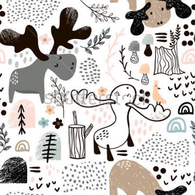 Cuadro Infantil de patrones sin fisuras con alces en madera y formas abstractas. Fondo de vector escandinavo de moda. Perfecto para ropa de niños, telas, textiles, decoración de viveros, papel de regalo