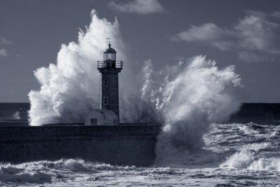 Cuadro Infrarrojos viejo faro bajo fuerte tormenta