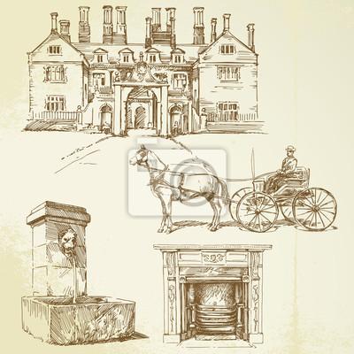 Inglaterra victoriana - conjunto de dibujado a mano