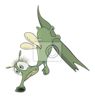 Insecto verde en una hoja de dibujos animados pinturas para la pared ...