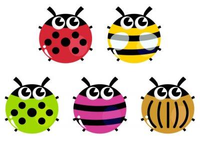Insectos Coloridos Dibujos Animados Conjunto Aislado En Blanco
