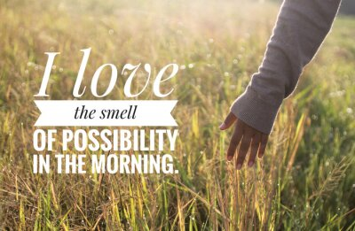 Cuadro Inspirational motivational quote - I love the smell of possibility in the morning. With warm morning light over the field & young woman hand touch the leaves of paddy in field background.