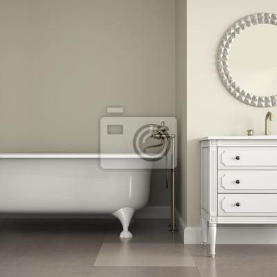 Interior del cuarto de baño clásico con espejo redondo y el gabinete ...