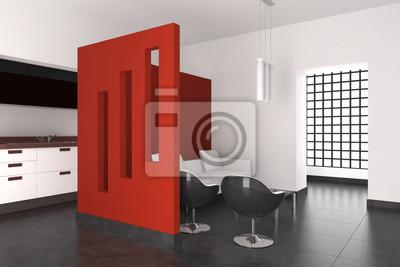 Interior moderno con salón comedor y cocina pinturas para la ...
