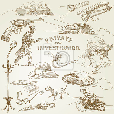 investigador privado - colección de dibujado a mano