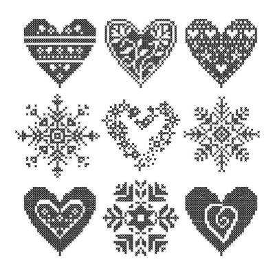 Cuadro invierno amor sin fisuras conjunto corazón negro