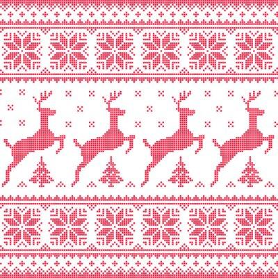 Cuadro Invierno, Navidad patrón de color rojo sin fisuras con ciervos pixelados