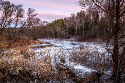 Cuadro Invierno o primavera río y madera