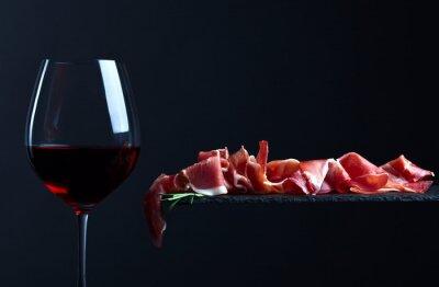 Cuadro Jamón con vino tinto
