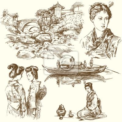 japón - colección de dibujado a mano