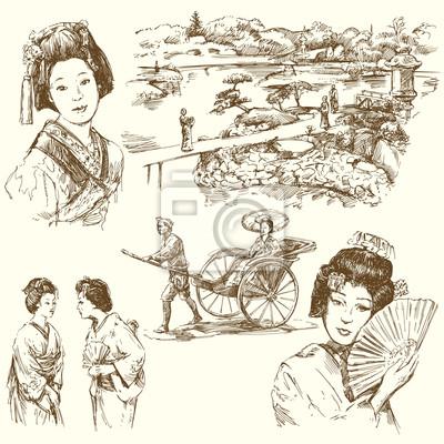 japón - conjunto de dibujado a mano