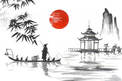 Cuadro Japón Pintura japonesa tradicional Arte de Sumi-e Japón Pintura japonesa tradicional Arte de Sumi-e El hombre con el barco
