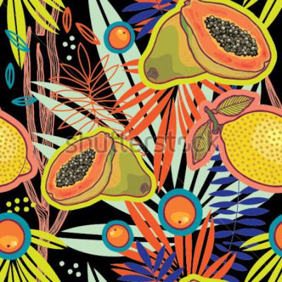 Cuadro Jardín de verano tropical en el patrón de vector de la noche.