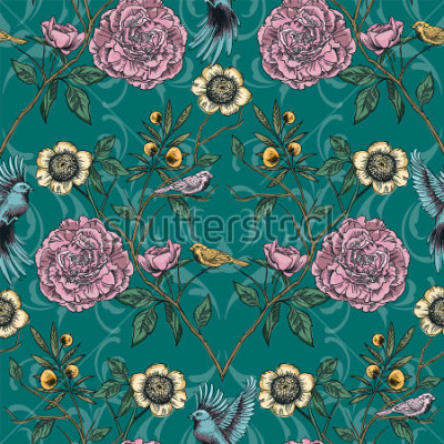 Cuadro Jardín victoriano. Patrón floral sin fisuras Ilustracion vectorial