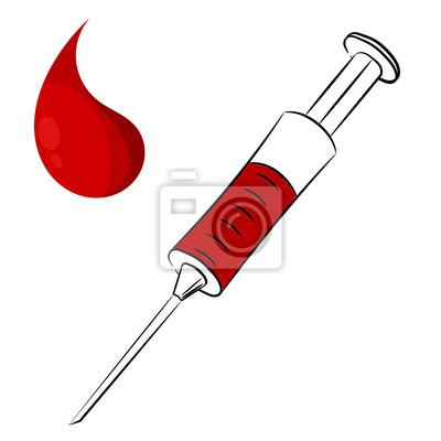 Jeringa De Dibujos Animados Y Una Gota De Sangre Eps10