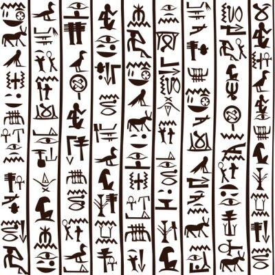 Jeroglíficos egipcios de fondo sin fisuras pinturas para la pared ...