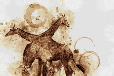Cuadro Jirafa. Digital Art Coffee mancha jadeando.