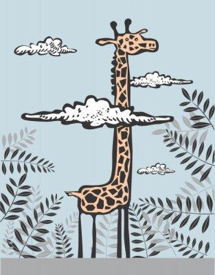 Cuadro Jirafa divertida en nubes
