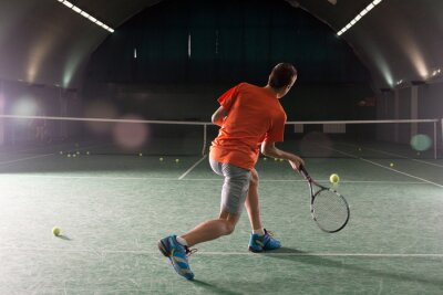 Cuadro Joven, tenis, jugador, patear, bal